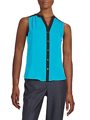 Calvin Klein Colorblock Sleeveless Top - Cerulean - Size X Large