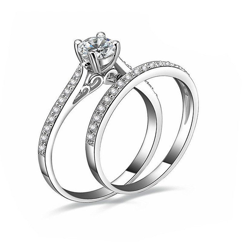 Cute Charm Silver Rings For Women Bijoux Crystal Engagement Wedding Jewelry anel masculino Couple Rings For Lovers Size