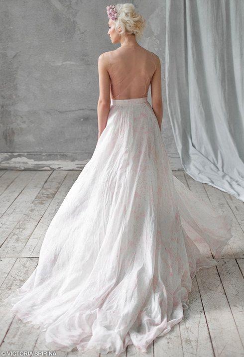AMALZEYA / Chiffon wedding dress Low back wedding dress open back ...
