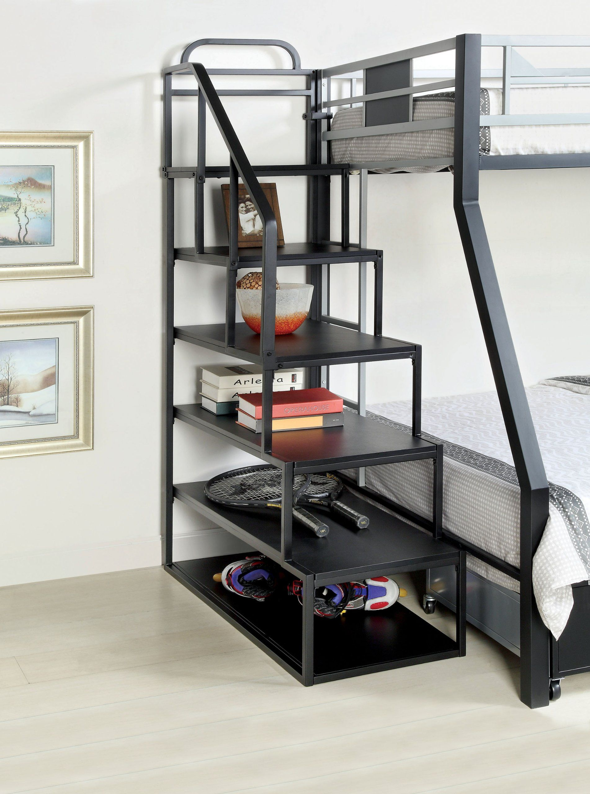Metal Bunk Bed Side Ladder Bookshelf