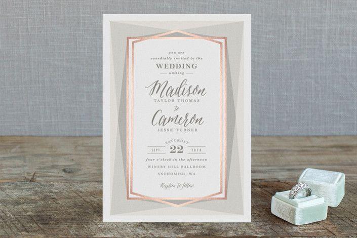Modern Angles Foil-Pressed Wedding Invitations
