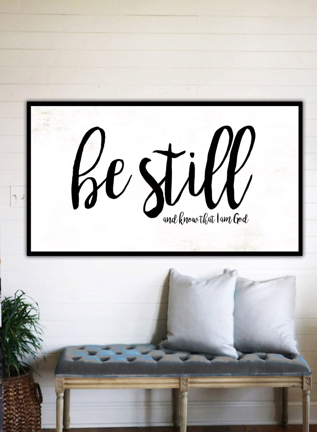 Be Still And Know Fixer Upper Home Decor Gift For Her Farmhouse Verse Sign Large Canvas Rustic Wall Art 75 Deep By