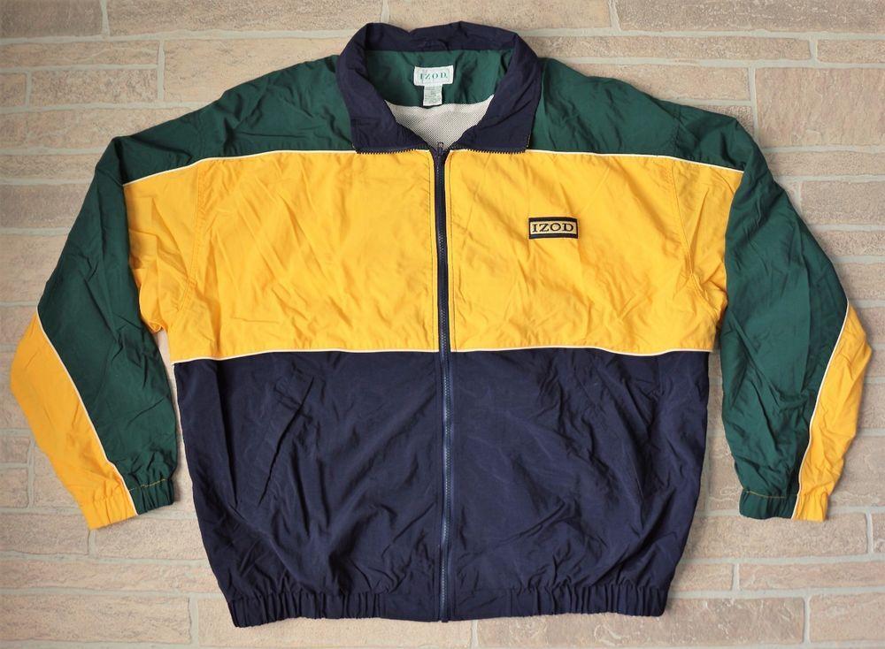 bd968ed6dc0cd Vintage IZOD Sailing Windbreaker XL Nylon Yellow Green Blue Jacket ...