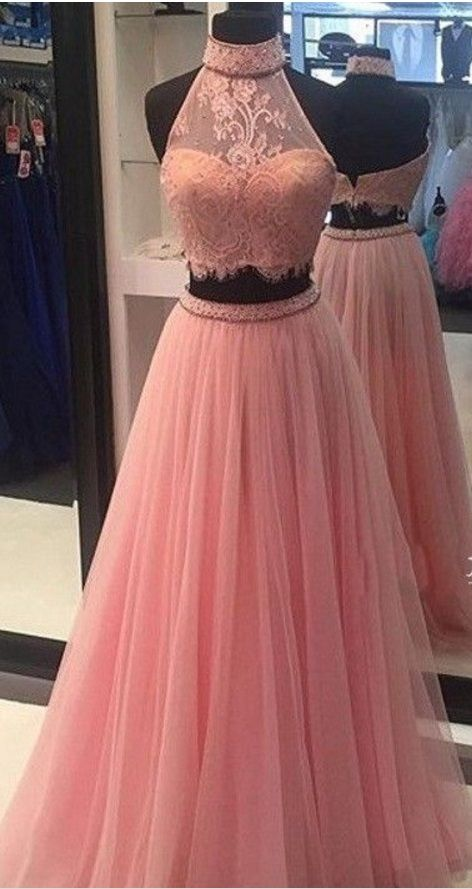 Pink neck ball gown,2 party dresses. #prom #promdress #dress ...