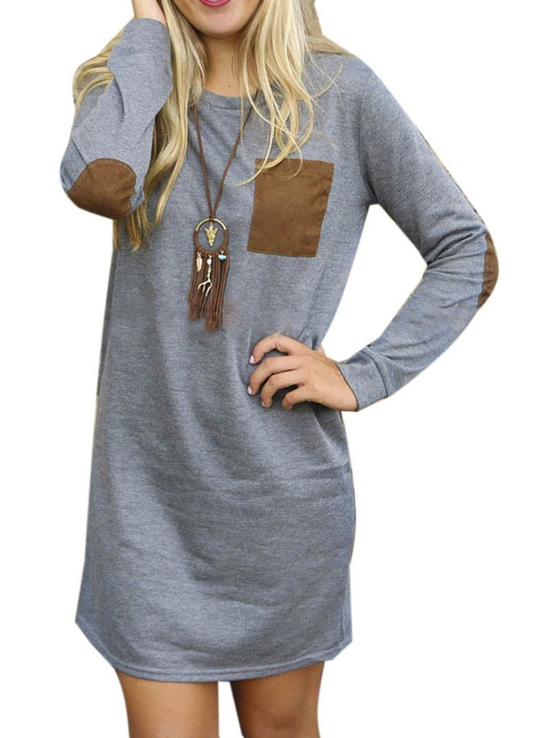 Choies womenus gray cotton elbow and pocket patch long sleeve loose