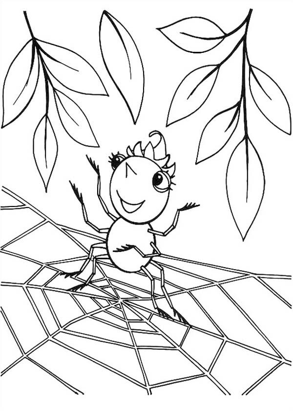 Spider, Cute Spider Girl Standing on Spider Web Coloring Page: Cute ...