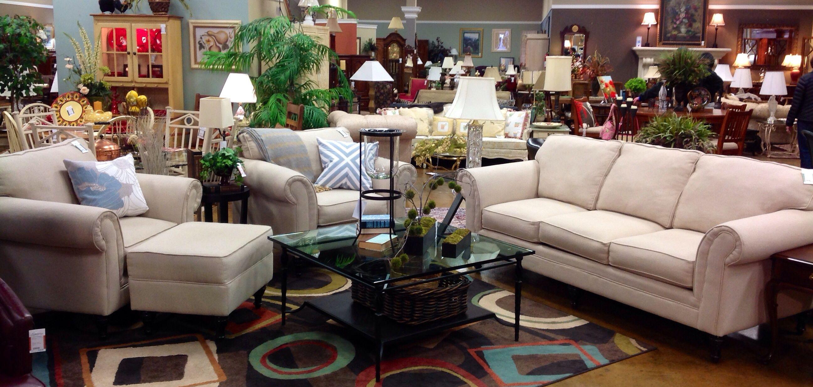 Gorgeous Neutral Herringbone Hillcraft Furniture Sofa