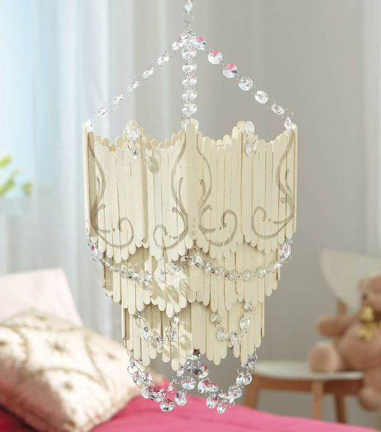 Craft Stick Chandelier At Joann Com Craft Stick Crafts Popcycle Stick Crafts Popsicle Crafts