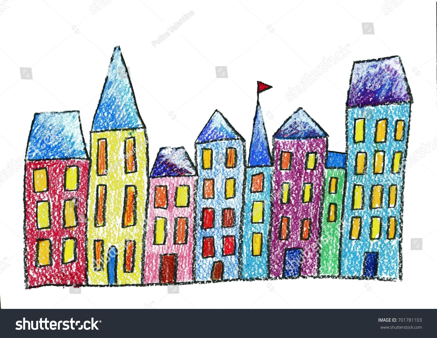 Old Town Old City Christmas City Kids Drawing Style Children Drawing Sponsored Christmas City Town Kids Drawing For Kids City Kid Fashion Drawing