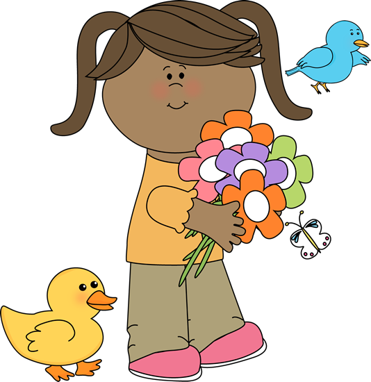 cute spring clip art spring friends clip art image little girl rh pinterest co uk cute spring animal clipart