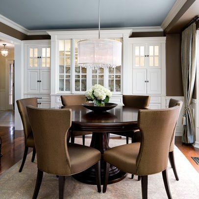Chocolate Brown Walls with a white trim, a pale blue ceiling and a
