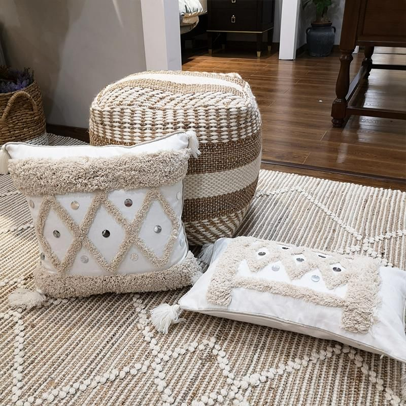 White Canvas Geometric Embroidery Pillow Cover with Sequin Home Dec Tassels Cush...