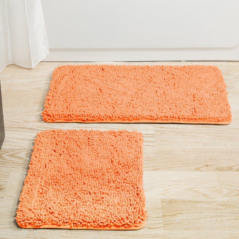 Latitude Run Filip 2 Piece Bath Rug Set Reviews Wayfair In 2020 Memory Foam Bath Mats Peach Bathroom Bath Rugs Sets