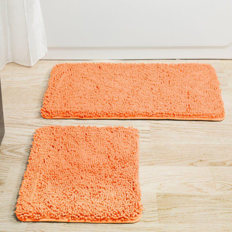 Latitude Run Filip 2 Piece Bath Rug Set Reviews Wayfair In 2020 Memory Foam Bath Mats Peach Bathroom Bath Rugs Sets