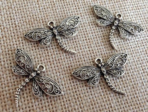 1 6 Pieces Large DragonFly Pewter Charm Pendant by LailaFindings