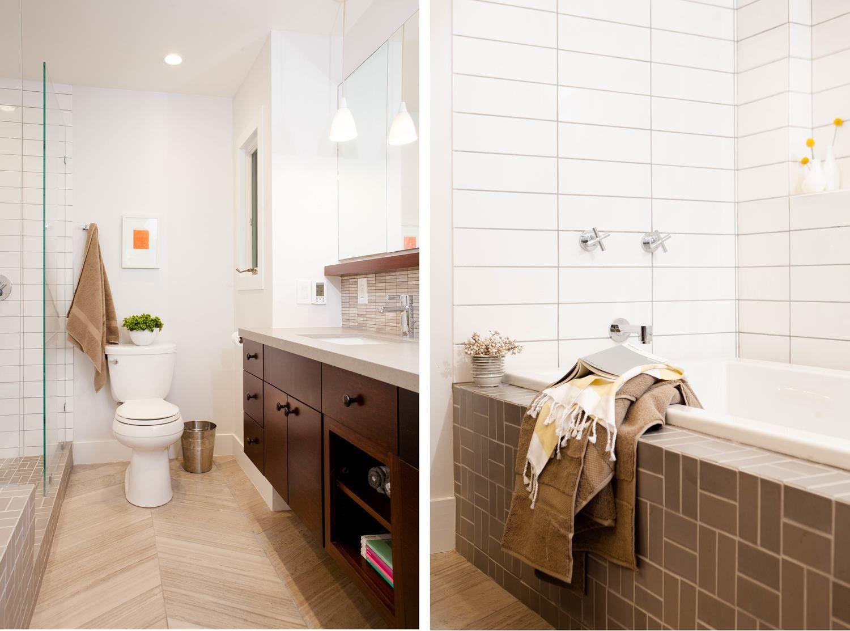 Kids bath - tile direction and color change - tiled tub front ...