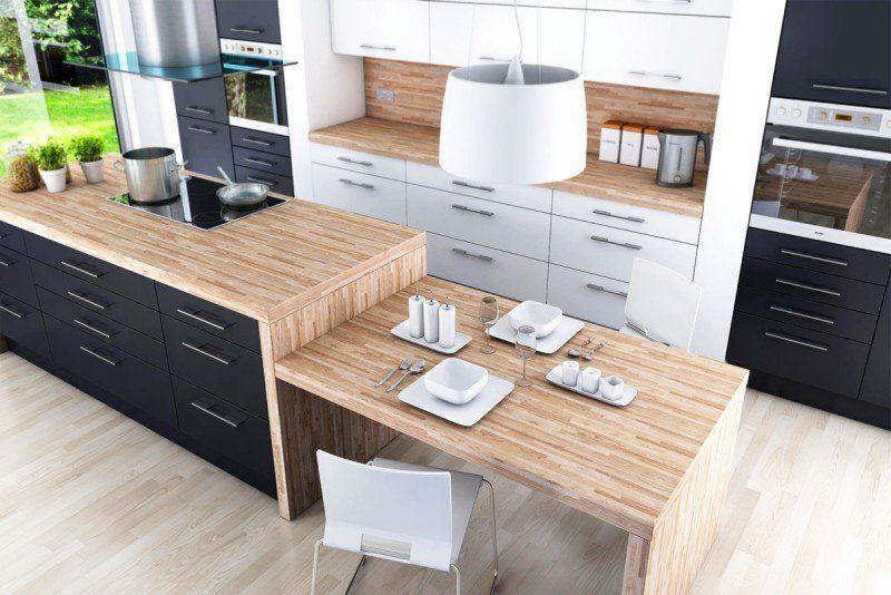 Aménagement cuisine blanche, noire et bois- 35 idées cool Kitchen - Table De Cuisine Avec Plan De Travail