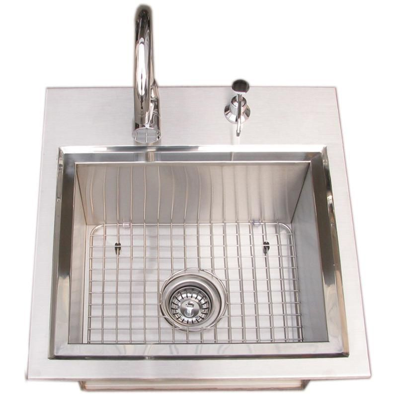 Sunstone Premium 21 X 20 Outdoor Rated Stainless Steel Drop In Sink With Hot Cold Faucet B Ps21 Outdoor Kitchen Sink Drop In Sink Sink