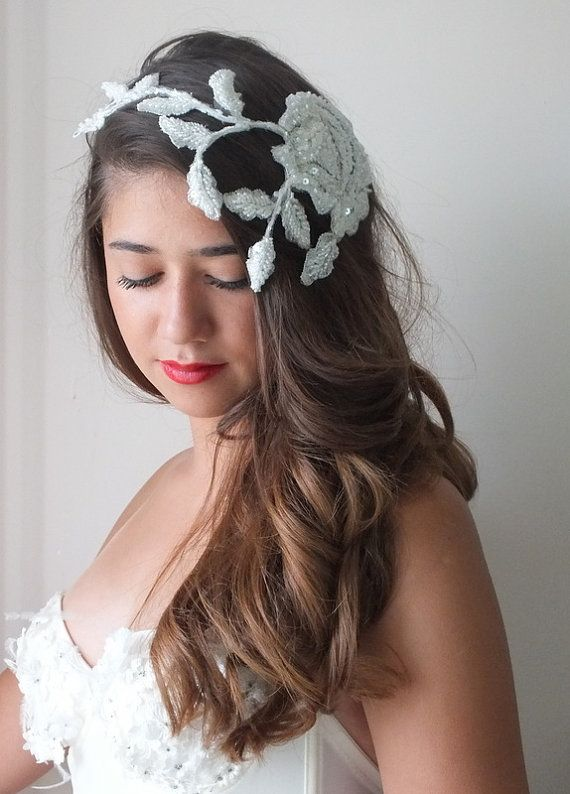 ivory lace headpiece boho headpiece boho wedding by ByVIVIENN