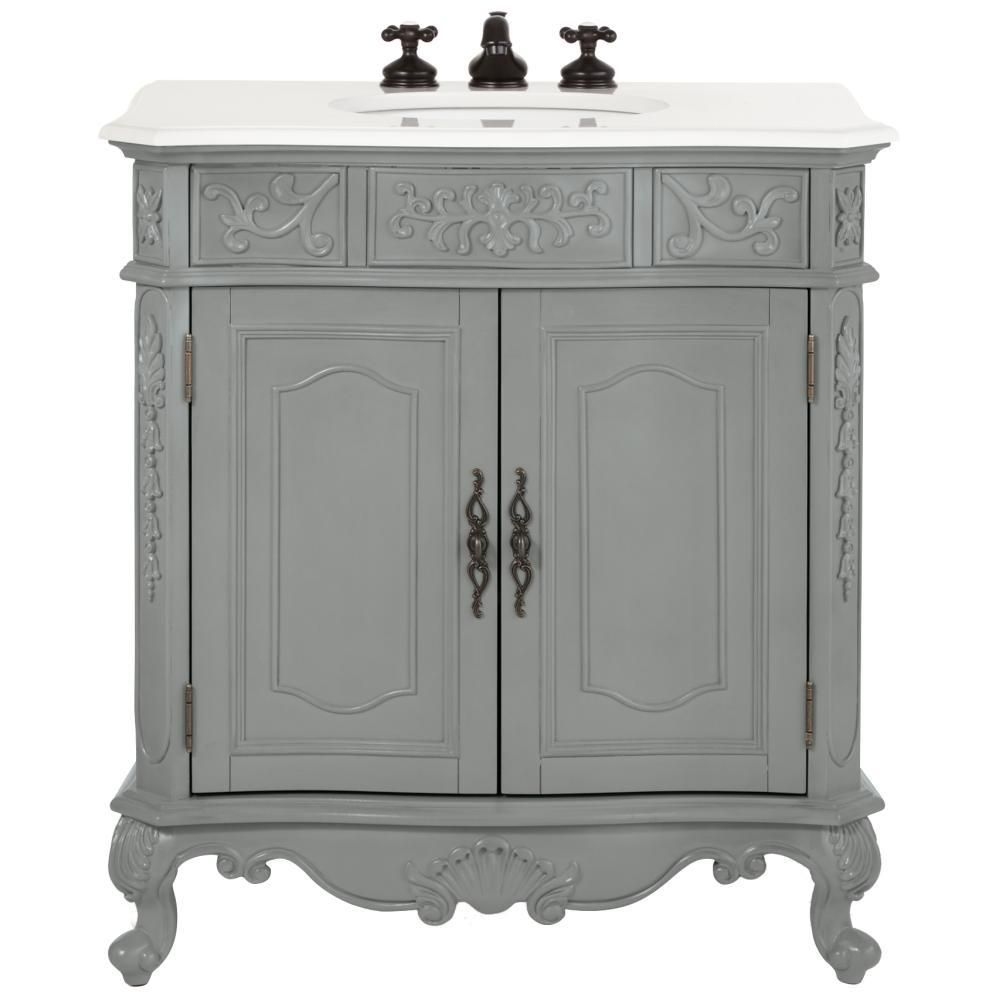 Home Decorators Collection Winslow 33 In W Vanity In Antique Grey With Marble Vanity Top In