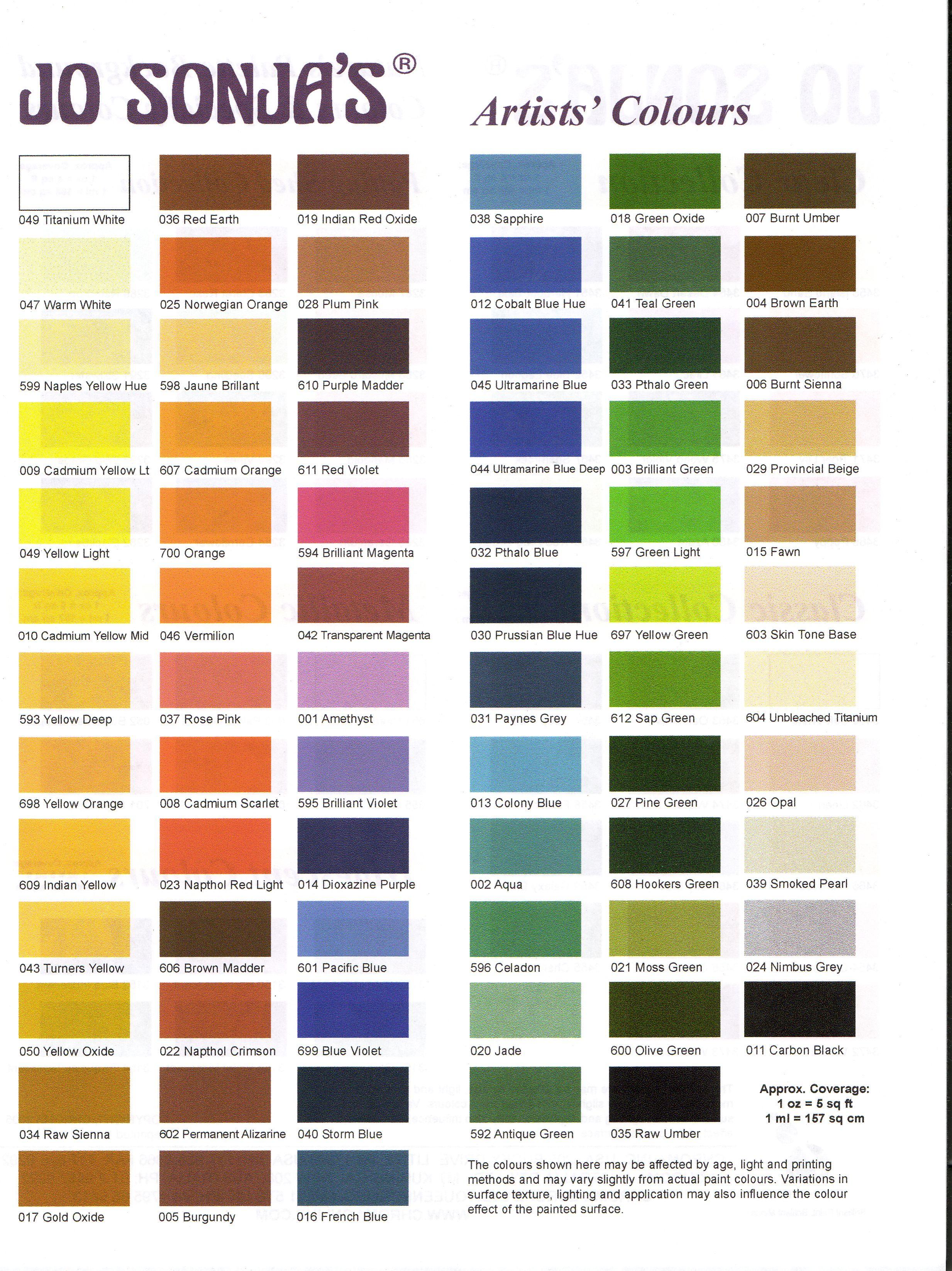 Folk art acrylic paint color chart - Jo Sonja Color Chart