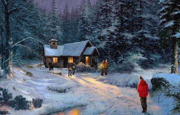 Wallpaper thomas kinkade, christmas miracle, painting, kinkade ...