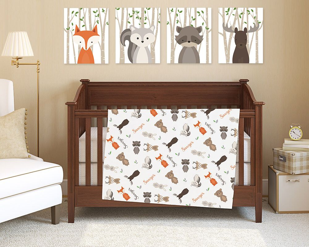 Crib bedding sale uk - Baby Blanket With Name Woodland Crib Bedding Jersey Knit Summer Blanket Fox Bear Bunny Moose Animal