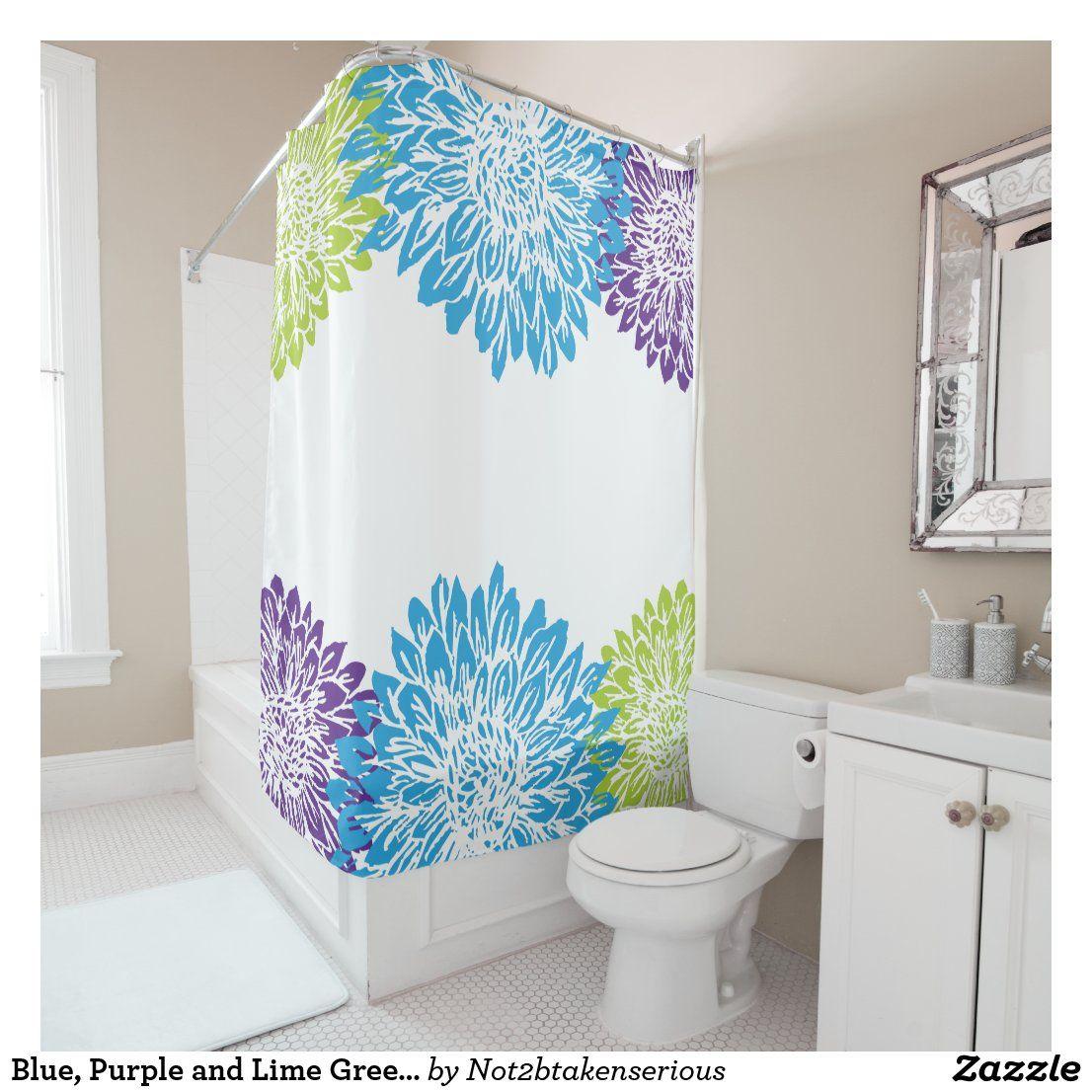 lime green flower shower curtain