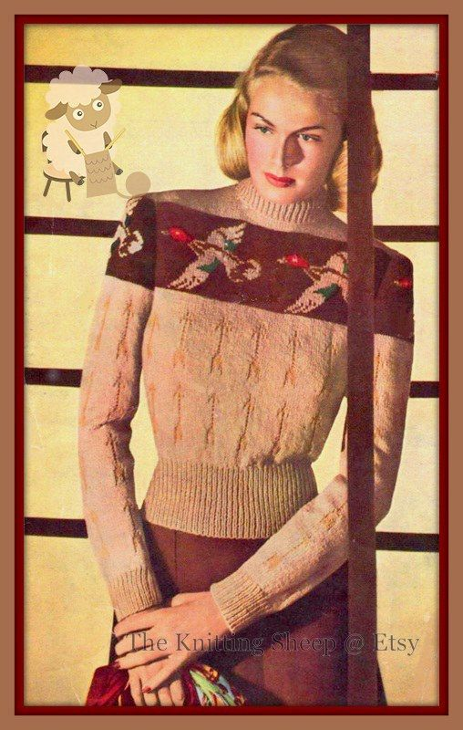 This PDF for a vintage 1940s Knitting pattern is for this fabulous Sweater with a Flying Duck Design and an Arrow Stitch pattern. he design is worked via a chart.  It is knitted in vintage DK weight wool so using a modern DK should work, you will just work a tension square and see if you also have to change needles sizes to get the correct results.  To fit a 34 bust - the actual bust size will increase using modern yarn. Your PDF pattern will be available as an instant download from etsy…
