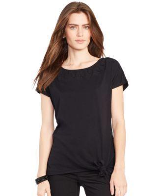 Lauren Ralph Lauren Tie-Hem T-Shirt