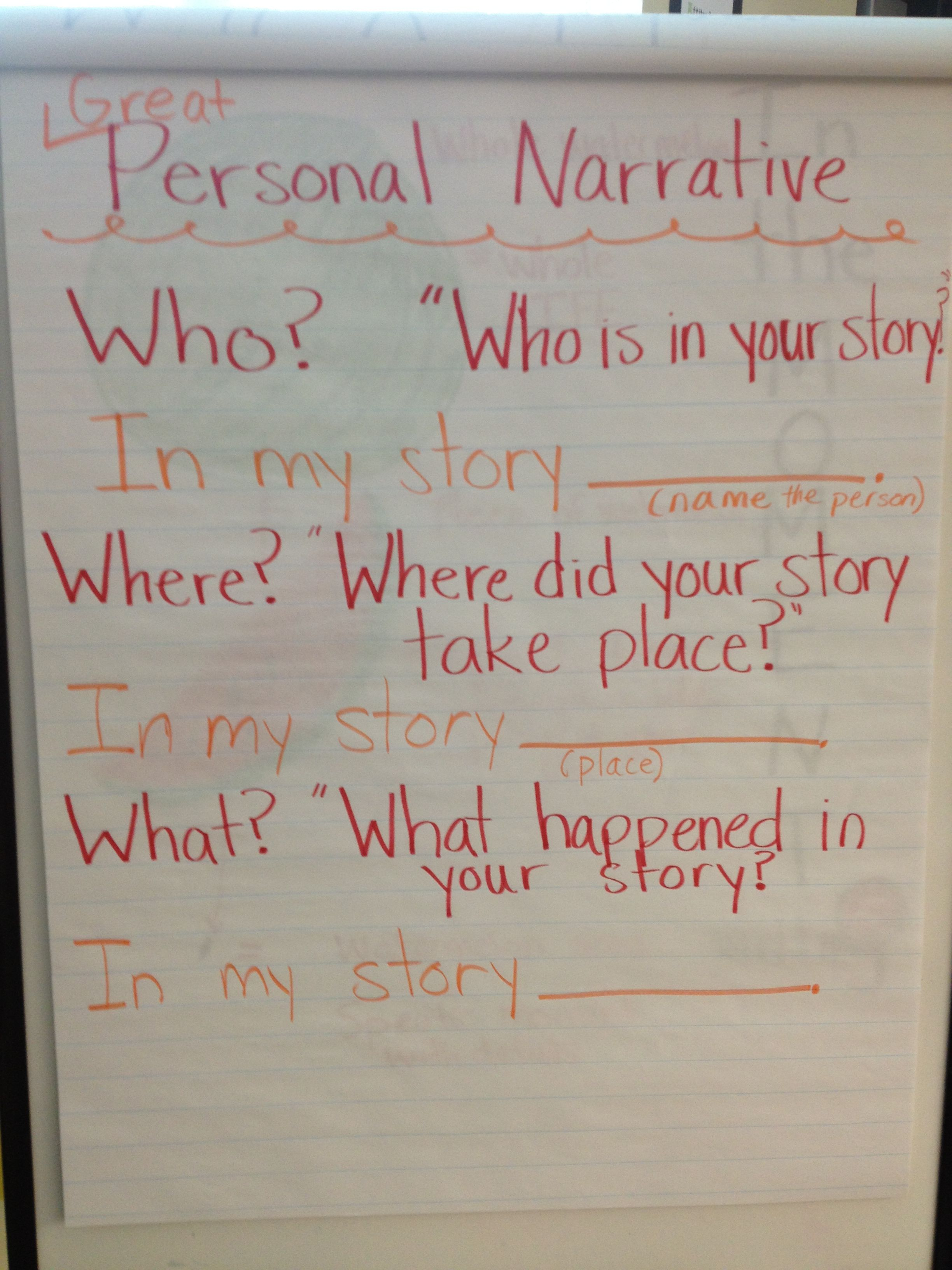 Personal Narrative Question Answer Eld Frame