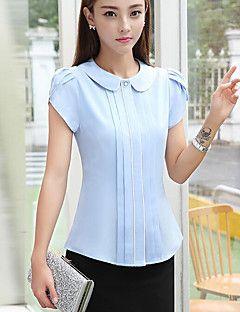 42ab2d75a Feminino Blusa Casual Simples Listrado Poliéster Colarinho de Camisa Manga  Curta