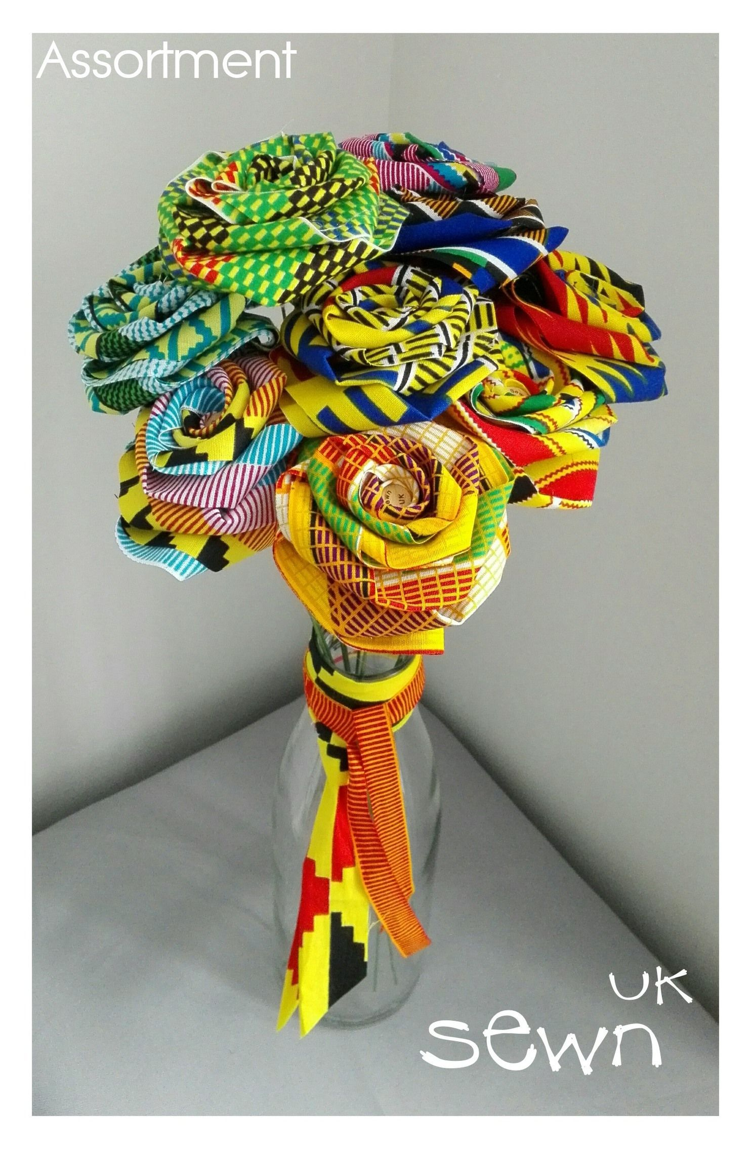 Fabric Roses, Flowers that last! – African Kente Designs with Bendy Stems. Perfect as Gifts, Table Centrepieces or simply for the home