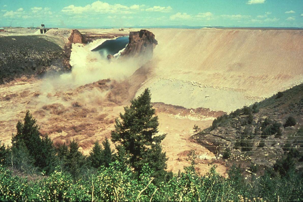 Failure of the teton dam near rexburg idaho on saturday