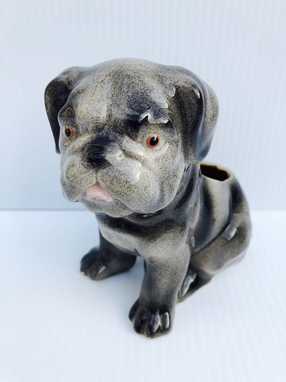 Vintage Ceramic Bulldog Puppy Planter Adorable Dark And Light Grey High Gloss Bulldog Planter Catch All Caddy In 2020 Dog Decor Vintage Kitsch Light In The Dark