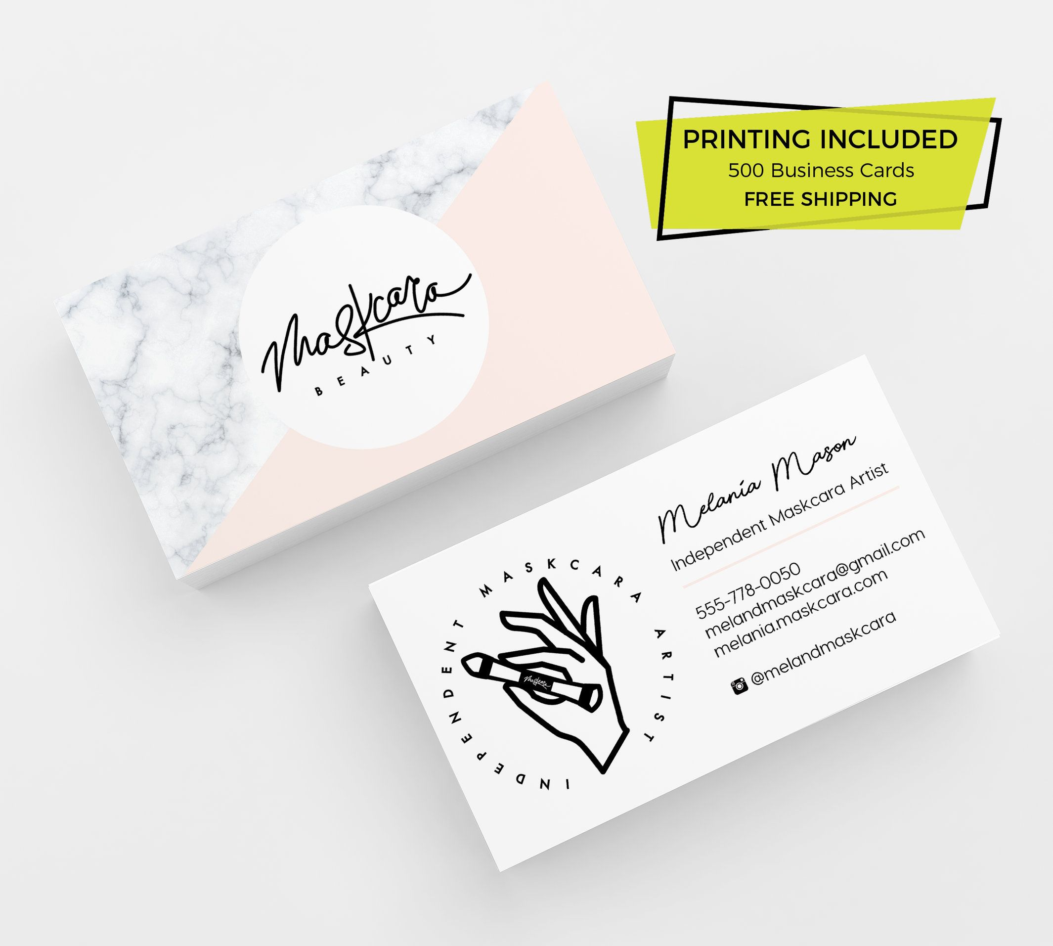 Maskcara Beauty Business Card 500 Printed Business Cards Etsy Beauty Business Beauty Business Cards Printing Business Cards