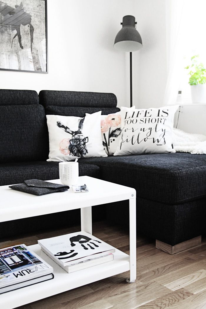 Love This Living Room With Black Couch And White Accent Pillows