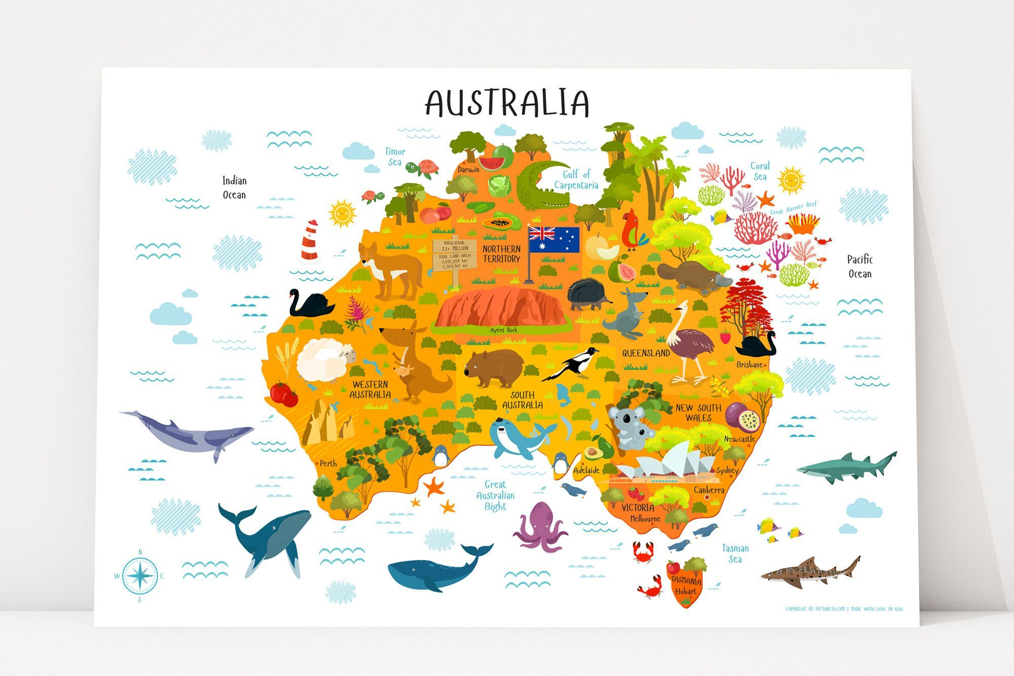 Map Of Australia Facts.Children S Map Of Australia Poster Map Of Australia For Kids