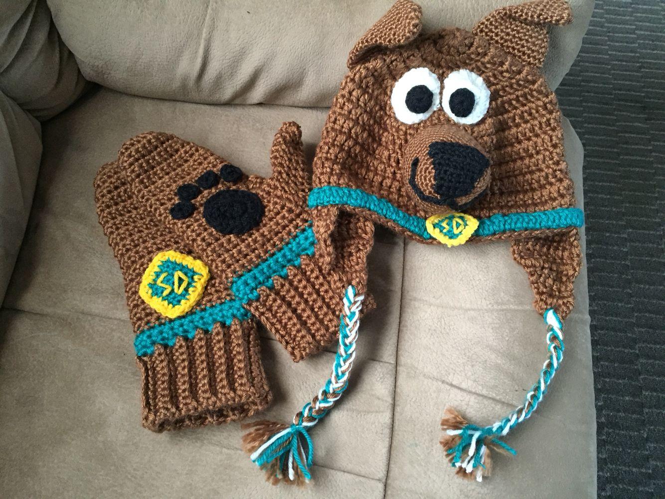 Crochet Scooby Doo hat and mitts! | toucas | Pinterest