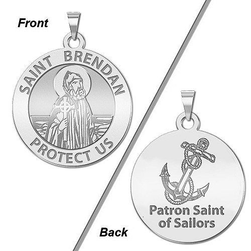 Saint Brendan Religious Medal Solid 14K Yellow Gold 1 Inch Size of a Quarter