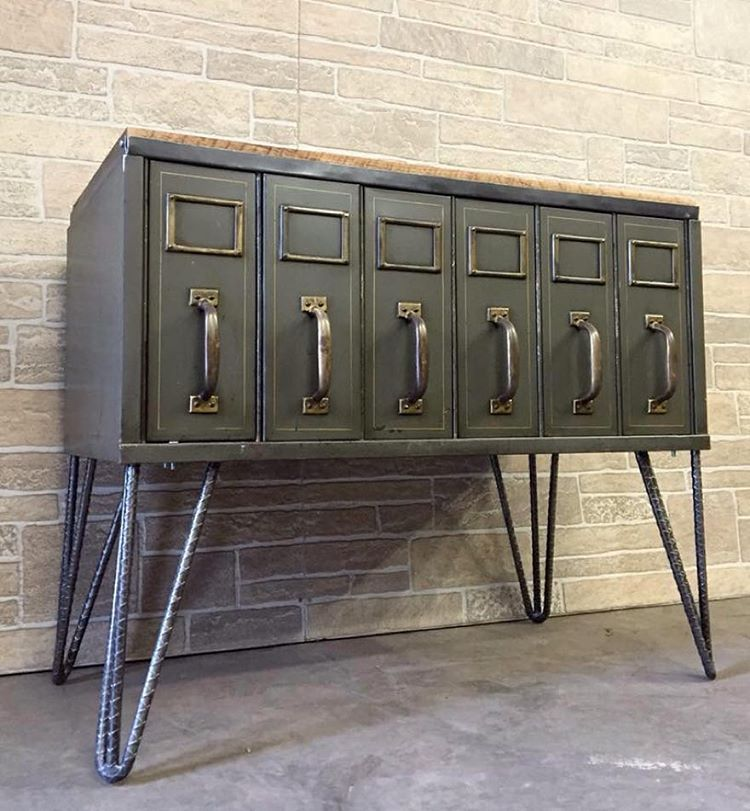 Custom industrial console/ hall table. Upcycled vintage parts bin ...