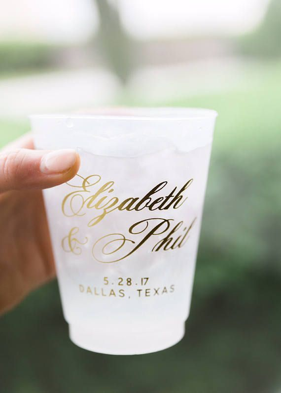 Frosted Cups Custom Printed Wedding Party
