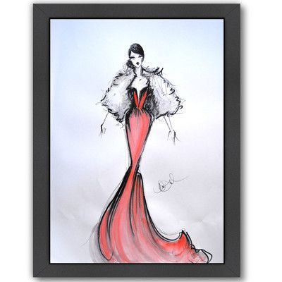 Americanflat Lady in Red by Cara Francis Framed Painting Print Size:
