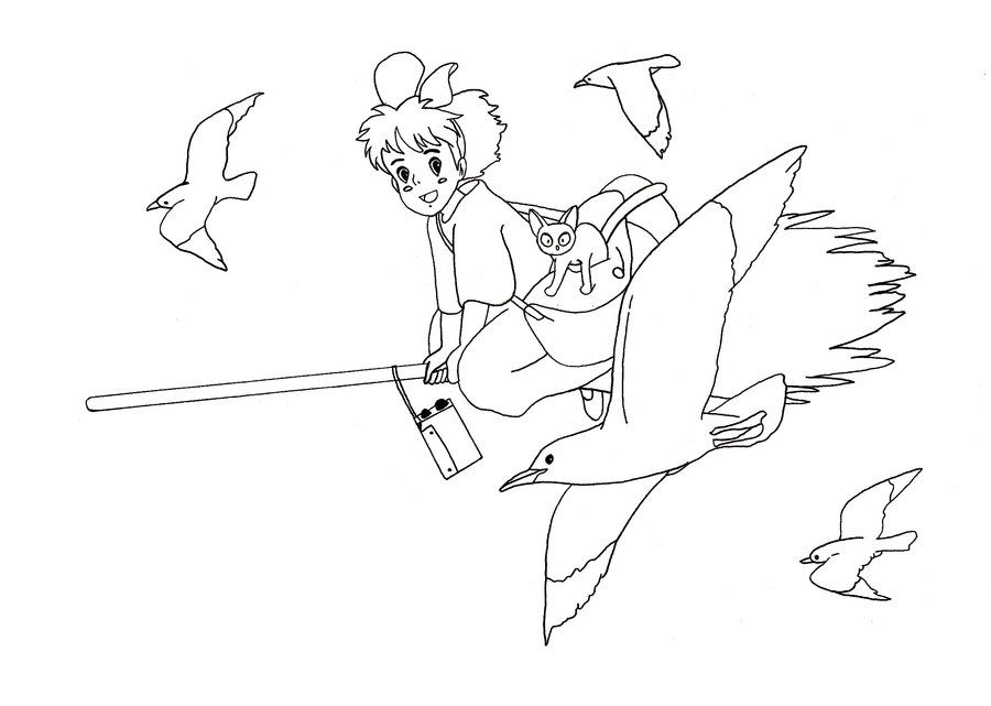 Kikis Delivery Service Colouring Page Coloring Pages