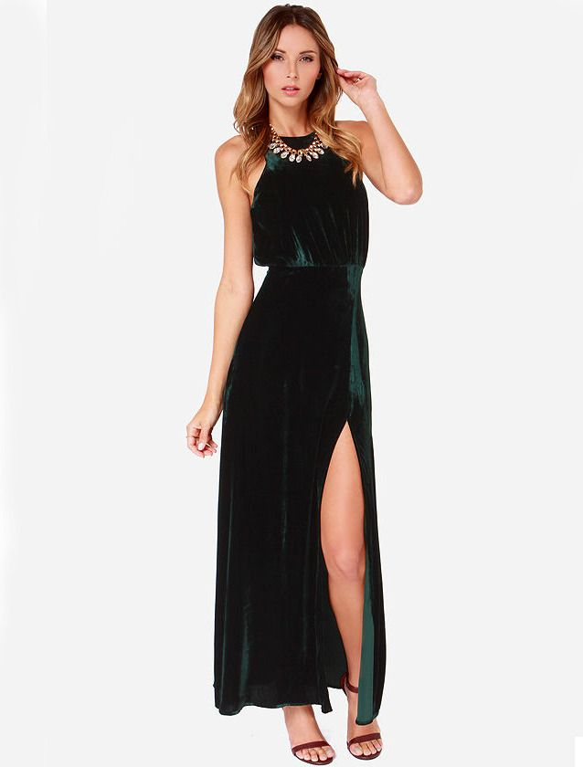 Emerald green velvet maxi dress