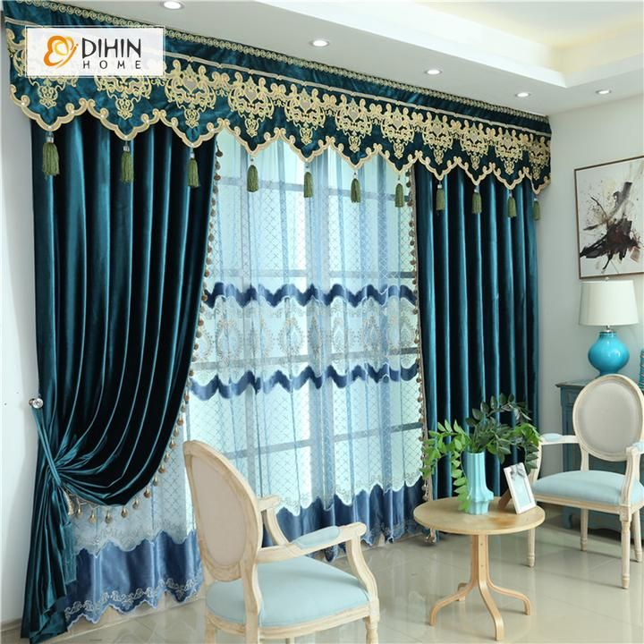 DIHIN HOME Dark Color Velvet Exquisite Valance ,Blackout Curtains Grommet Window Curtain for Living Room ,52x84-inch,1 Panel images