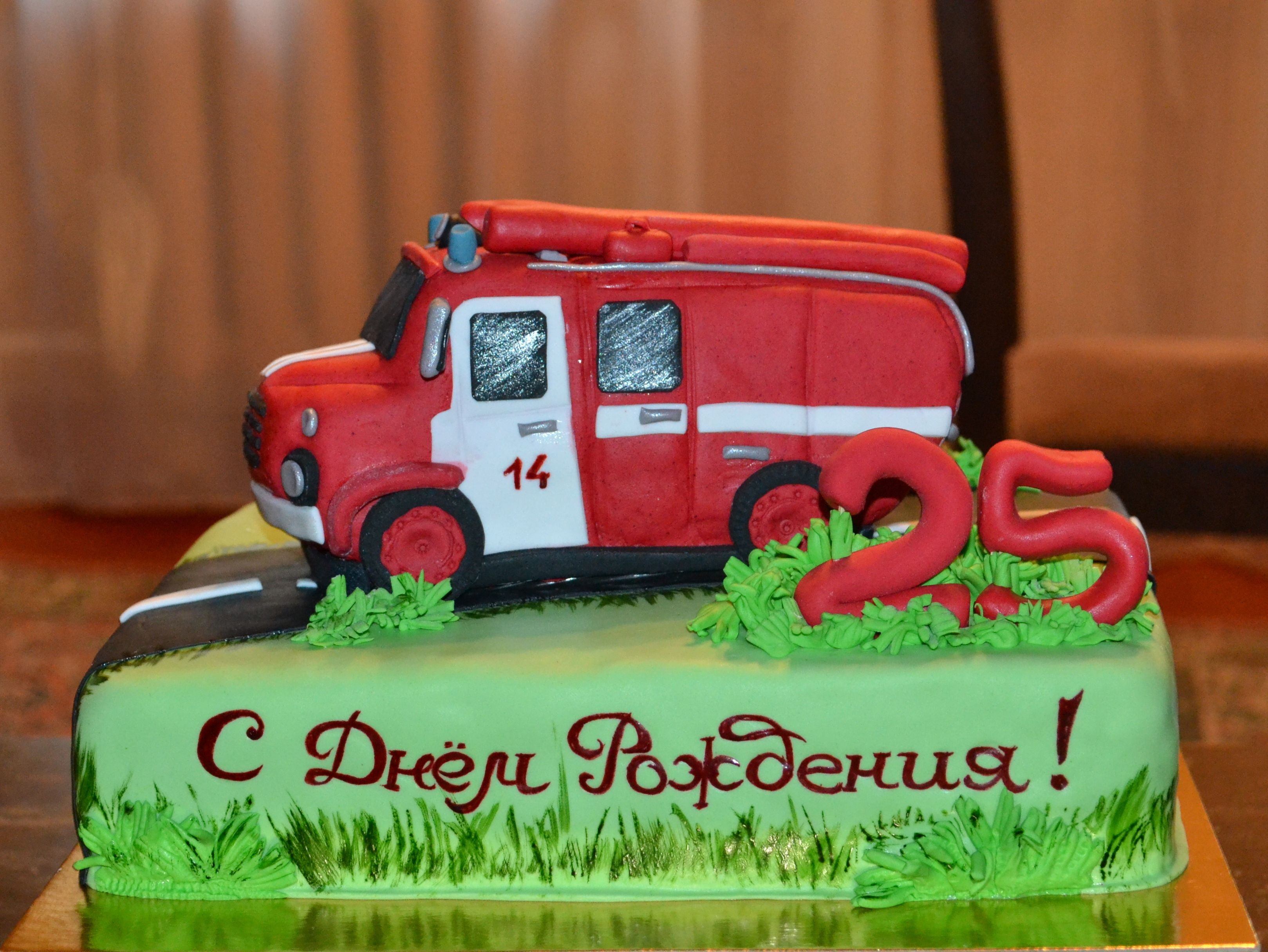 Пожарная машина на торт картинка
