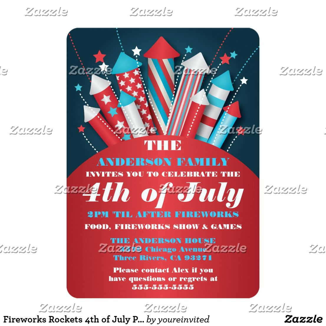 Fireworks Rockets 4th of July Party Invitations | 4th of July ...