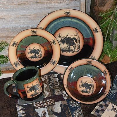 The Forest Lodge Moose Dinnerware Set includes a single four piece ...