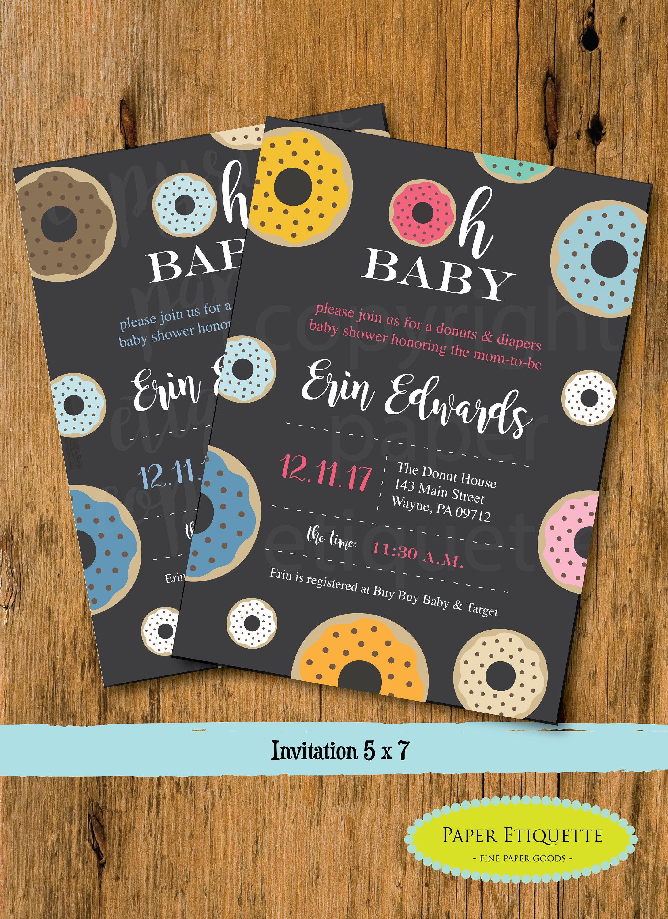 Oh Baby Donut Baby Shower Invitation Donut Gender Neutral Baby